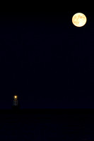 Harvest Moon over Harbor of Refuge Lighthouse